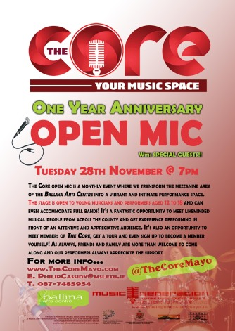 The Core OPEN MIC one year anniversary